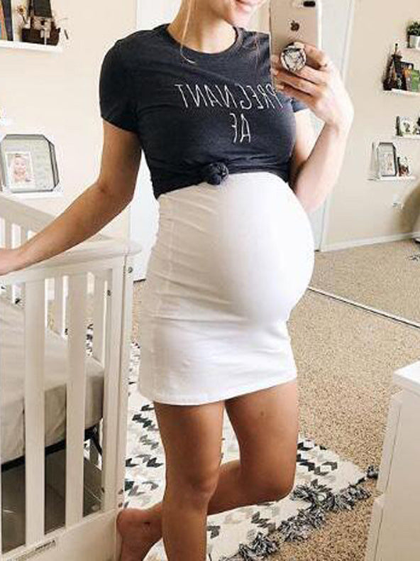 Maternity Spaghetti-neck Mini Dress& Short Sleeve T-shirt Suit