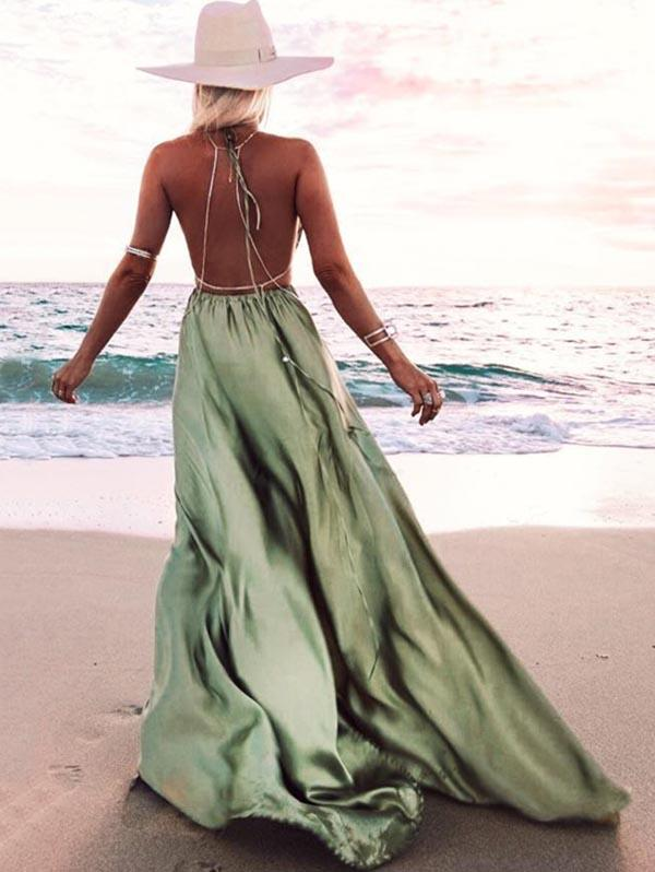 Halter-neck Backless Waisted Maxi Dress