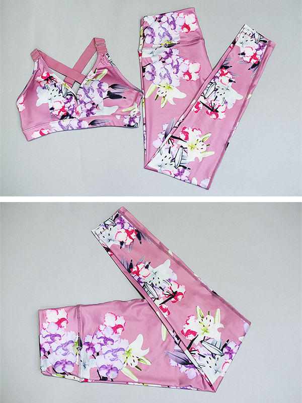 Flower Printed Sports Bra And High Waist Leggings Suits