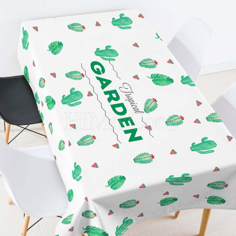 Garden Green Plants Casual Printed Tablecloth