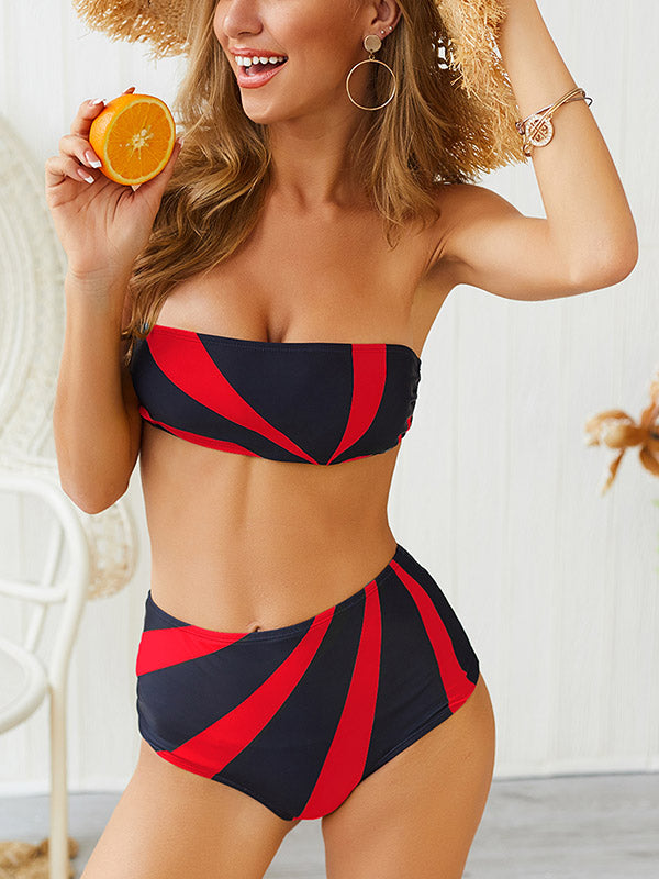 Contrast High Waisted Bikini Set