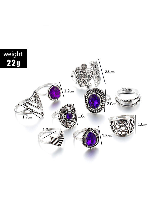 9pcs Retro Geometric Hollow Rings Accessories
