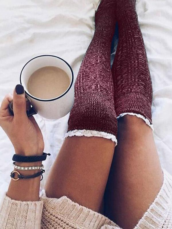 Solid Knitting Lace Knee-high Stocking