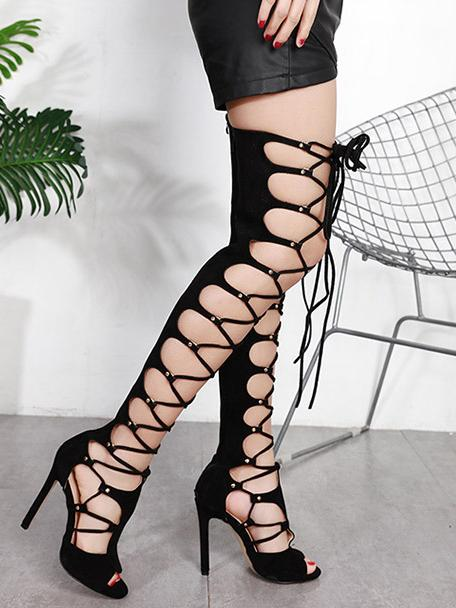 Solid Bandage Over Knee Heels Sandal Boots