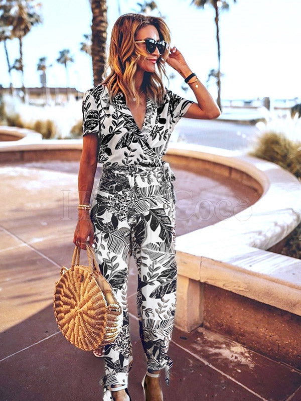 Leaves Print V-neck Short Sleeve Belt Jumpsuit
