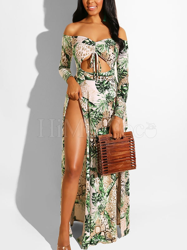 Printed Hollow 2 Colors Maxi Dress