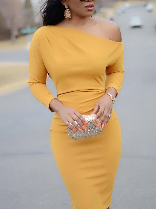 Fashion Loose Long Sleeves Midi Dress