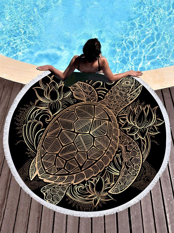 Popular Tortoise Printed Beach Mat