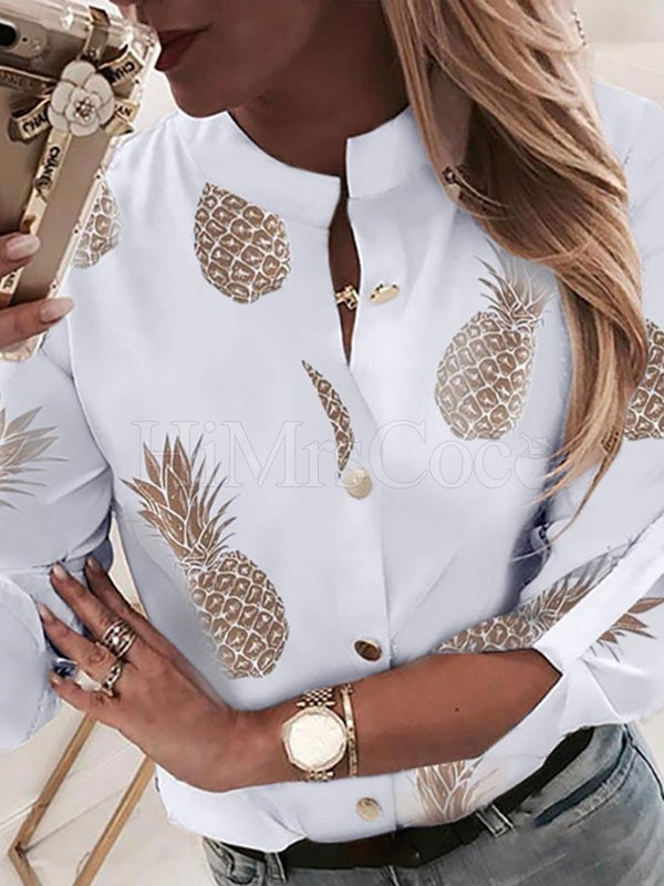 Pineapple Printed Long Sleeve Blouses&shirts Tops