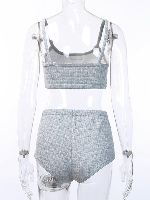 Sexy Solid Square Texture Spaghetti-neck Top And Shorts Suits