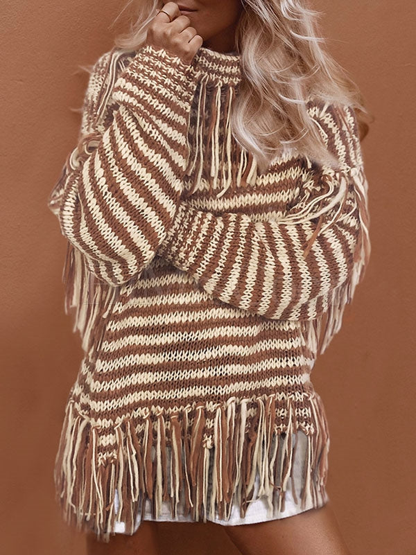 Loose High Collar Striped Tassel Sweater