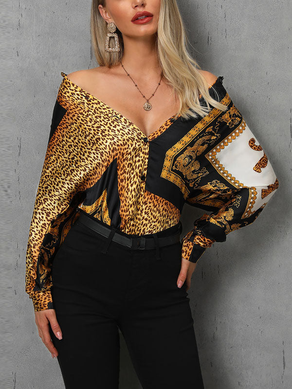 Fashion Long Sleeves V-neck Blouses&shirts Tops