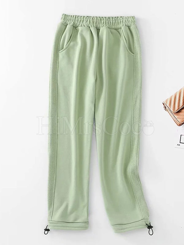 Loose Side Split-joint Straight Leg Drawstring Athletic Pants