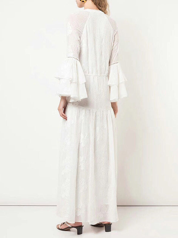 Lace Embroidered Stitching Fringed V-neck Maxi Dress