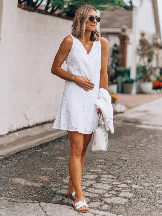 Hollow Lace Sleeveless V-neck Dress