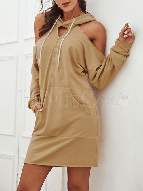 Hollow Split-Joint Zipper Hoodie Mini Dress