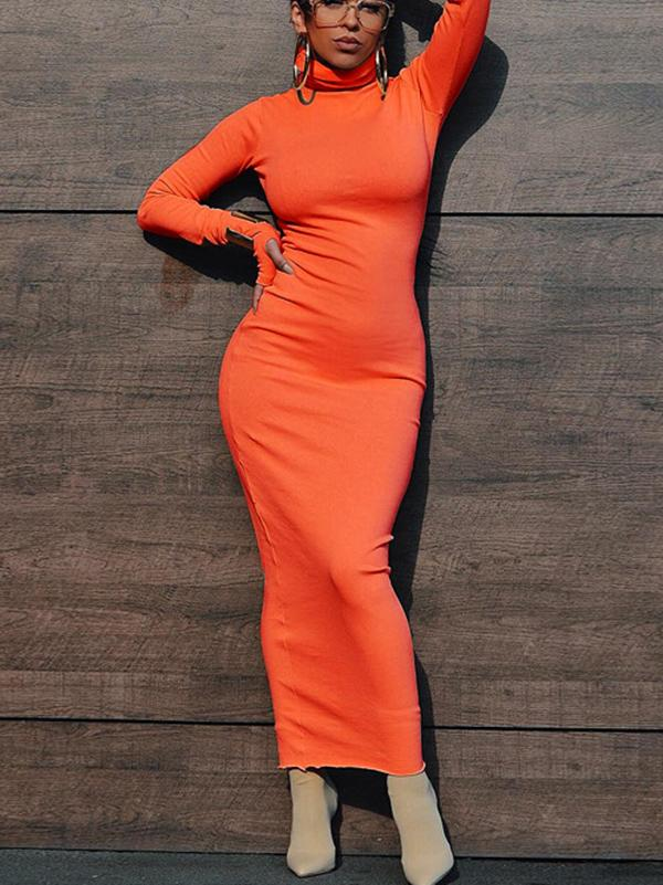 Solid Color Long Sleeves Maxi Dresses