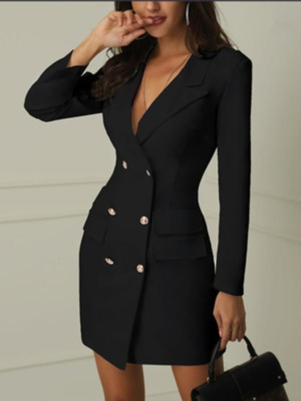 Double Breasted Long Sleeve Mini Blazer Dress