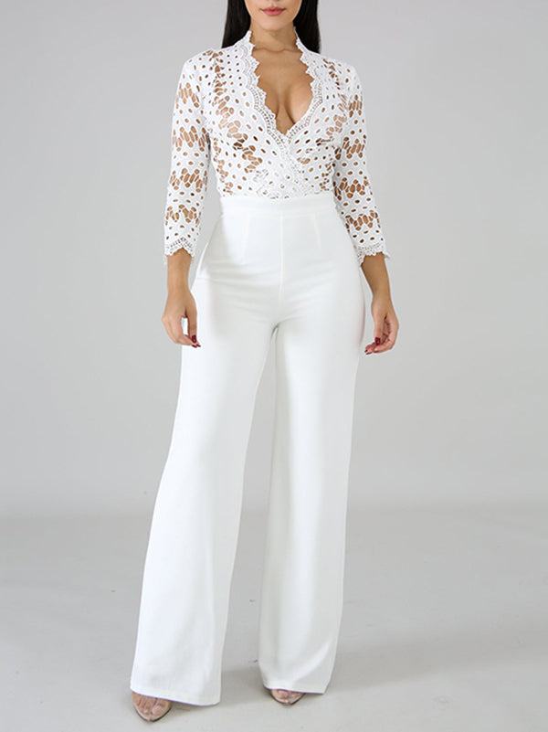 Pretty Solid Color Lace Insert Long Jumpsuits