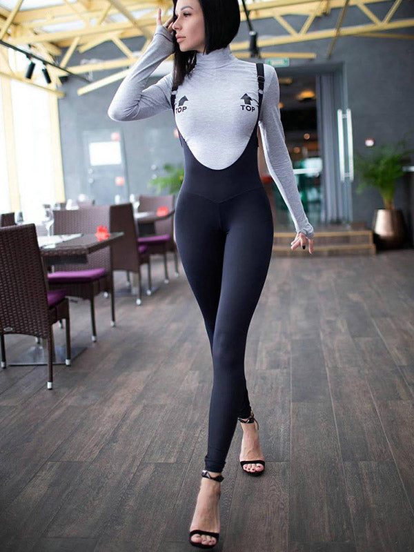 High-waisted Solid Color Leotard Jumpsuits
