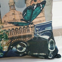 Butterfly Floral Printed Pillow Case