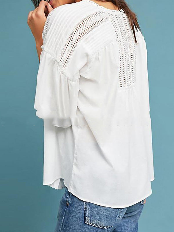 Fashion Long Sleeves White Blouses&shirts Tops