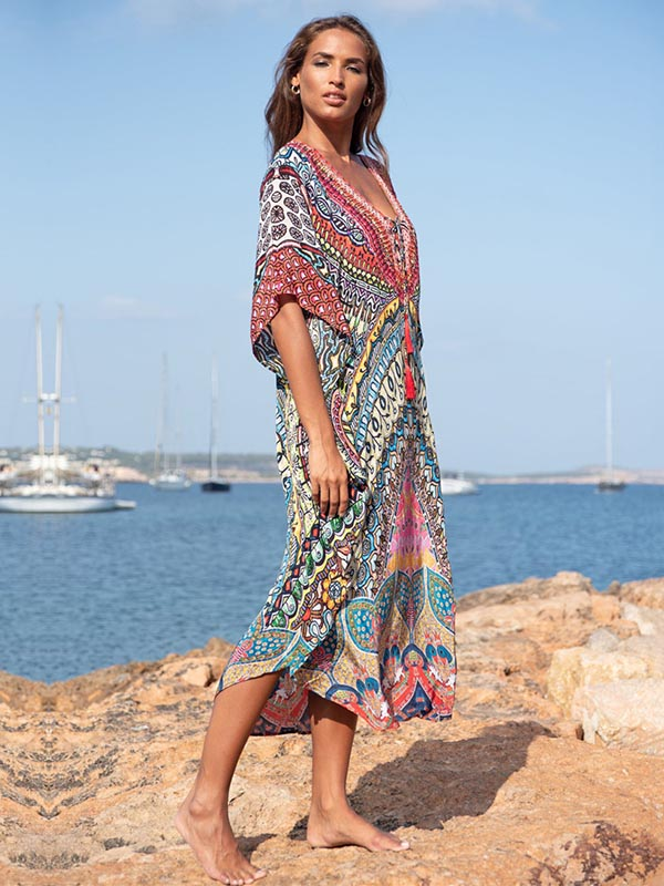V-neck National Floral Printed Quick-dry Bikini Cover-Ups