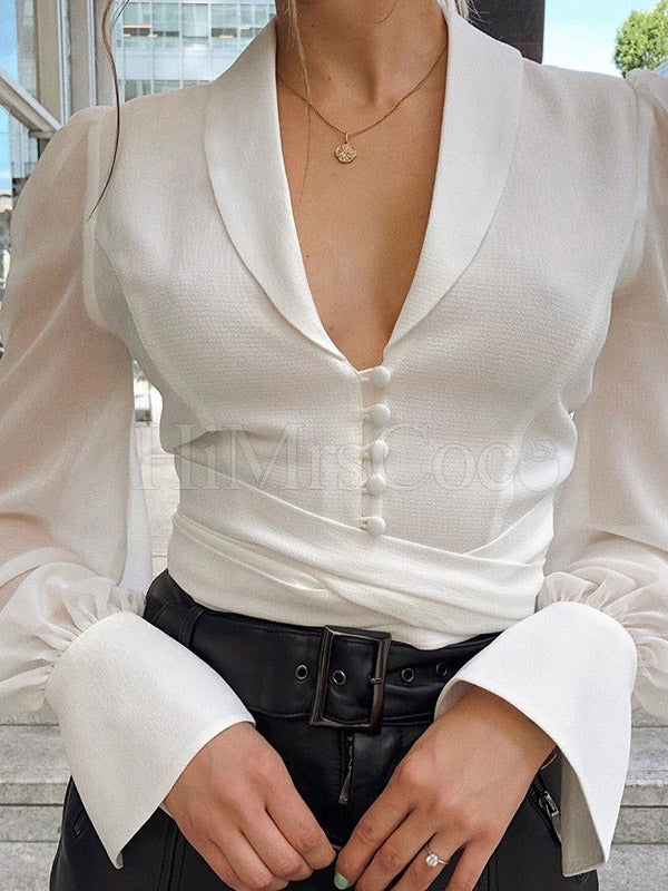 Solid Chiffon Bandage Long Sleeves Blouses