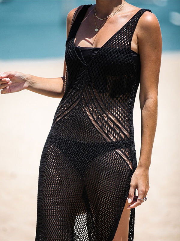 Sexy Hollow Knitting See-through Bikini Cover-Ups