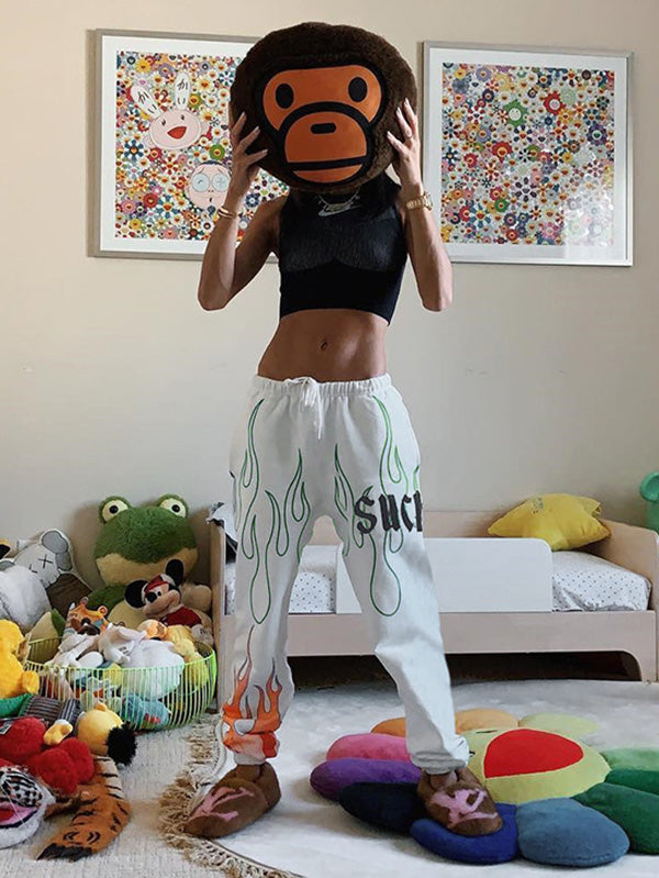 Flare Graphic Drawstring Casual Harem Pants