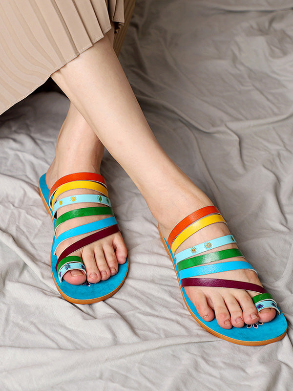 Bohemian Cow Leather Color Stripes Toe Ring Slipper