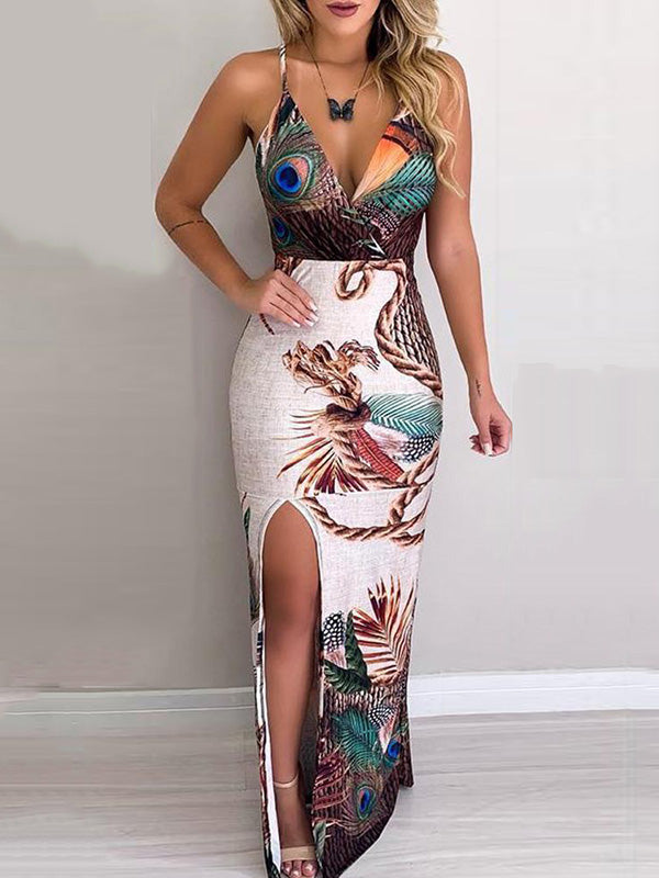 Peacock Feather Print Thigh Slit Slip Maxi Dress