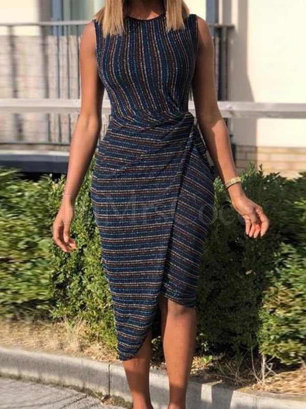 Striped Printed Bodycon Midi Dress