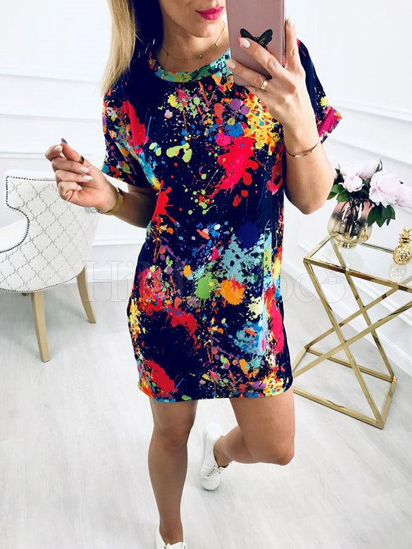 Casual Colorful Splash-ink Mini Dress