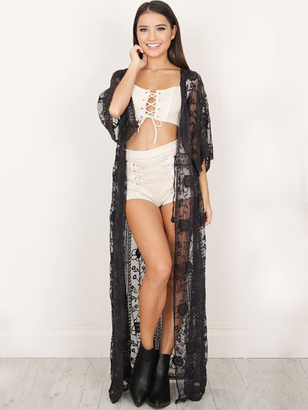 Lace Embroidered Drawstring Bikini Cover-Ups