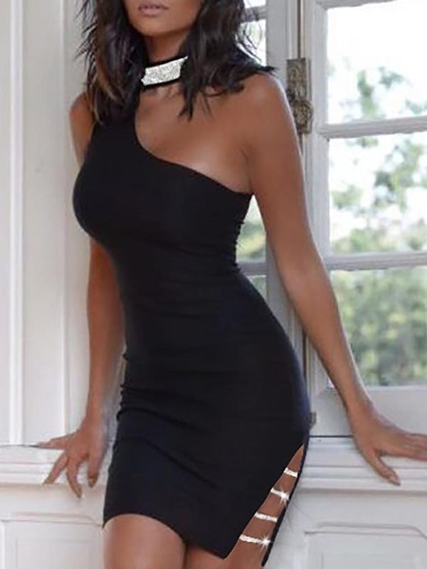 Sexy Hollow Black Mini Dress