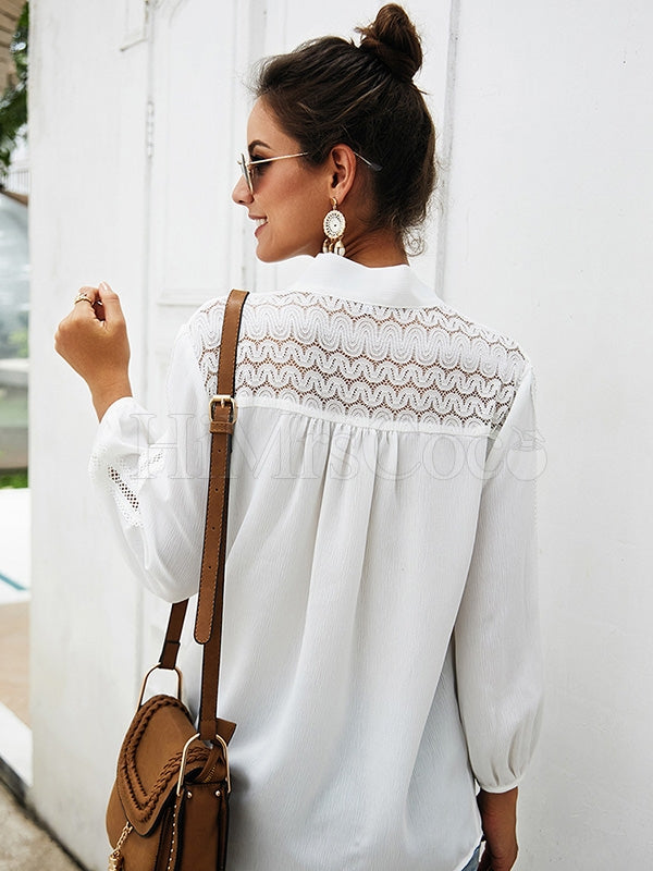 Splicing Hollow V-neck Chiffon Blouses