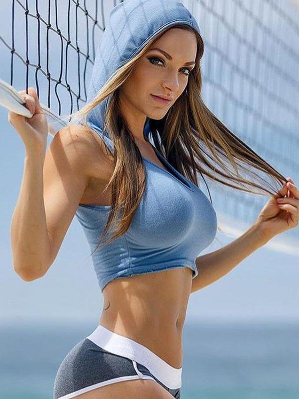 U-neck Bare Midriff Sports Bras