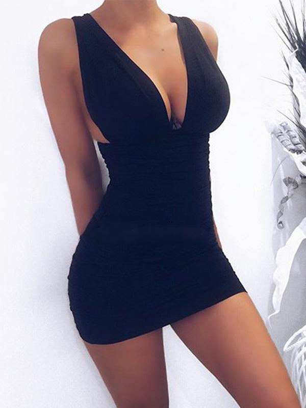 Sexy V Neck Bodycon Mini Dress