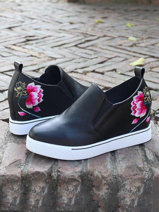 Lotus Floral Embroidered Leather Loafers