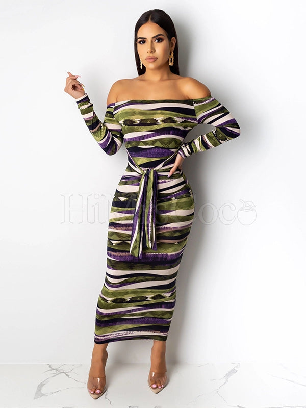 Irregular Striped Bandage Maxi Dress