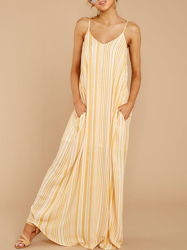 Loose Striped Condole Belt Dress