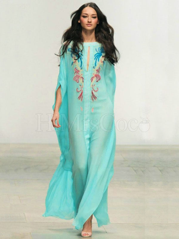 Embroidered Robe Style Beach Bikini Cover-Ups