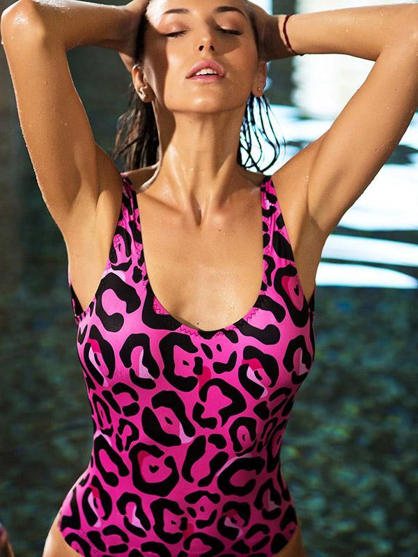 Leopard Printed Backless One-piece Swimwear