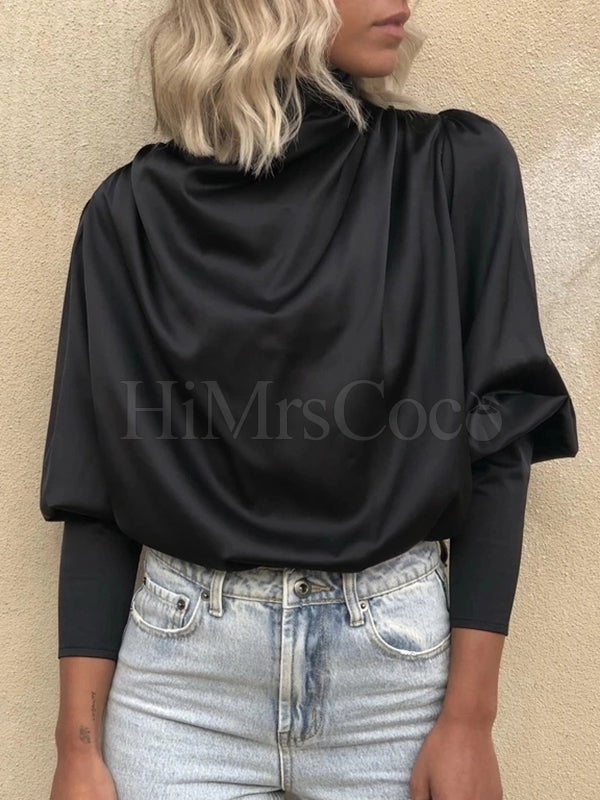 Black Simple Long Sleeves Blouses&shirts Tops