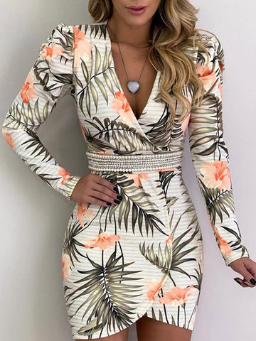 Simple Printed Tops And Bandage Long Skirt Suits