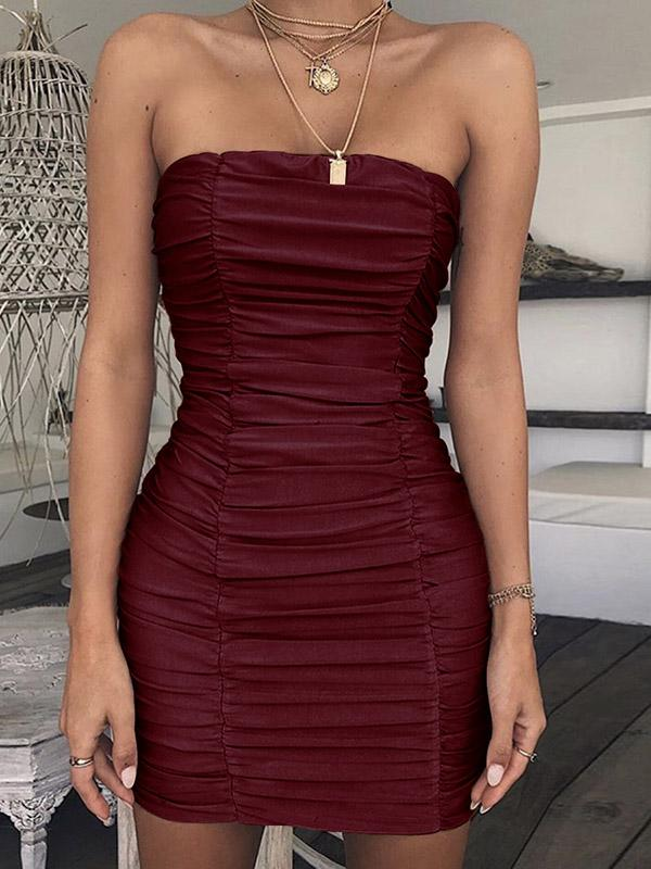Off Shoulder Sexy Solid Color Bodycon Dress