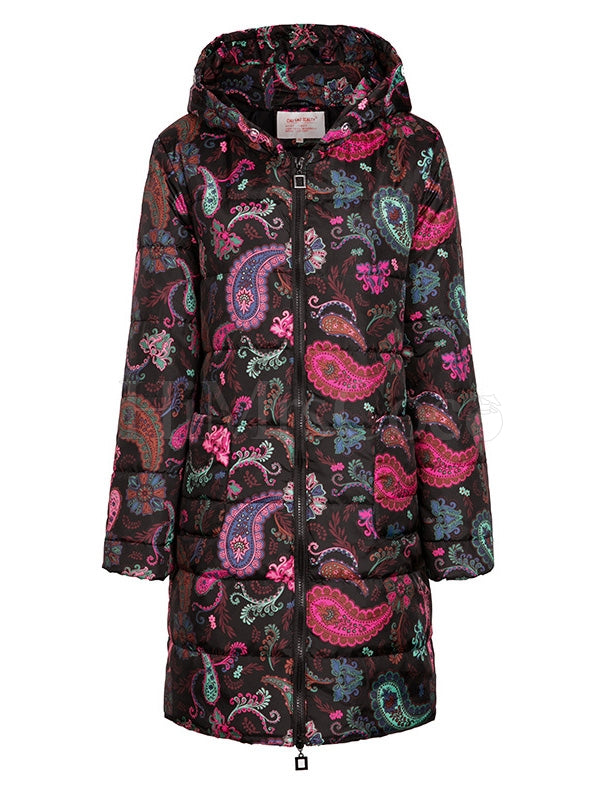 Printed Long Sleeves Cotton Padded Coat