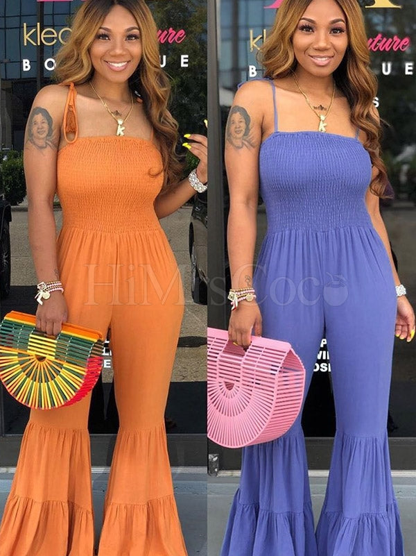 Solid Condole Belt Flared Jumpsuits