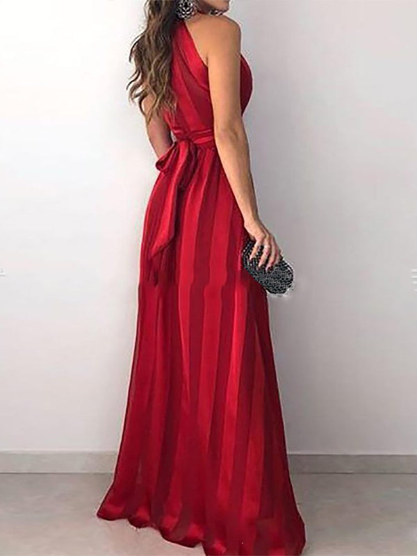 Fashion Red V Neck Maxi Dress